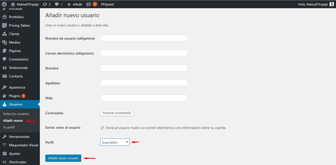 tutorial wordpress añadir nuevo usuario