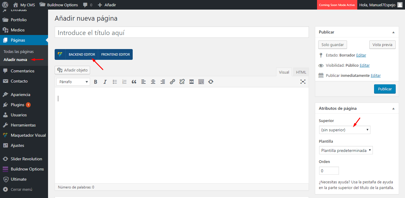 Tutorial WordPress Añadir página
