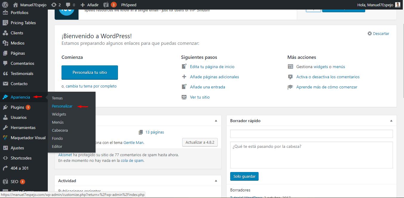 tutorial wordpress apariencia personalizar