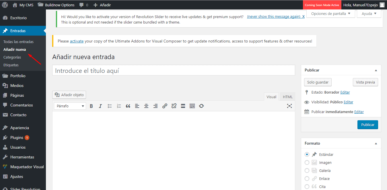 Tutorial WordPress Entrada añadir nueva