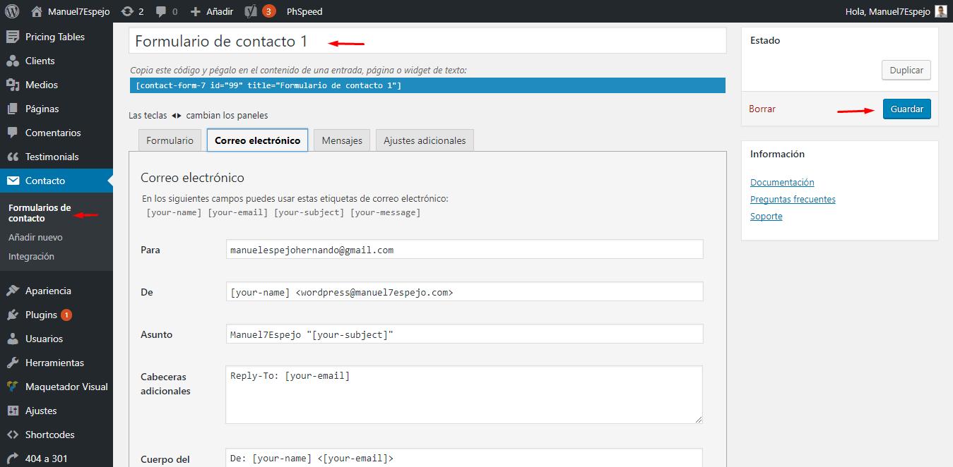 tutorial wordpress formulario de contacto