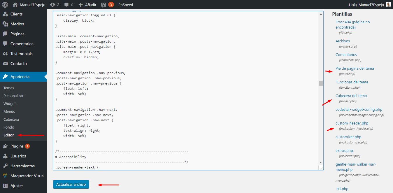 tutorial wordpress apariencia editor