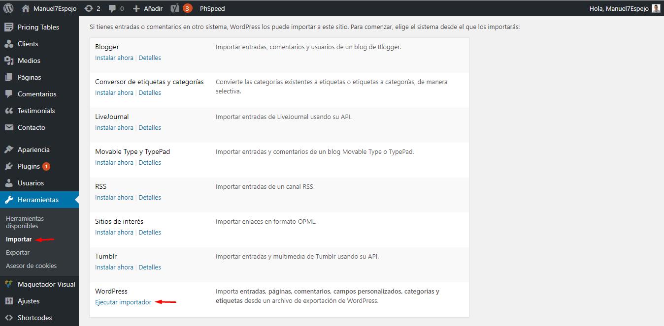 Tutorial WordPress herramientas importar
