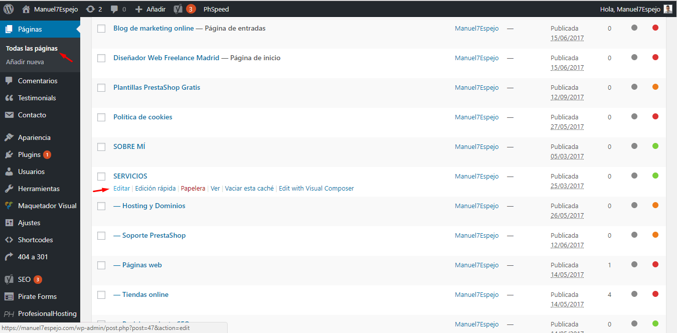 tutorial wordpress todas las páginas