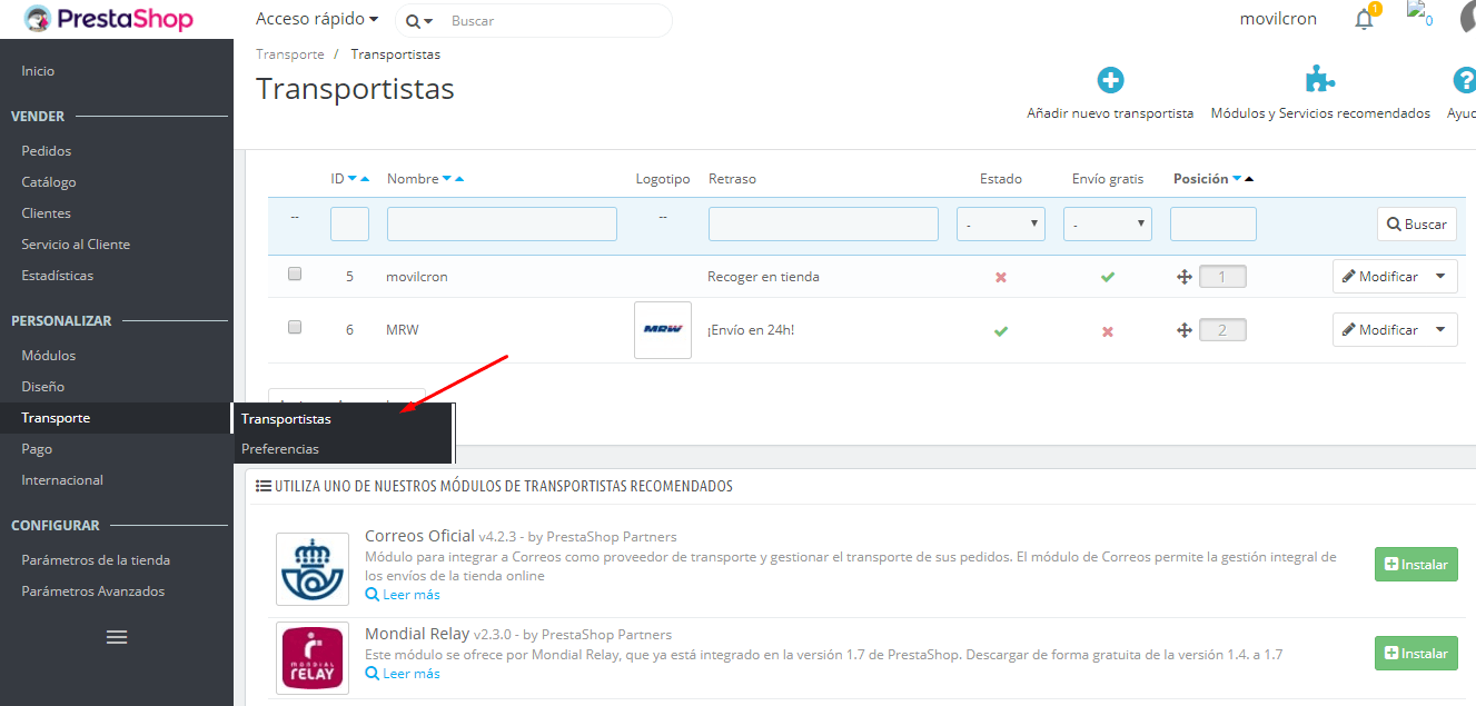 tutorial prestashop 1.7 transporte